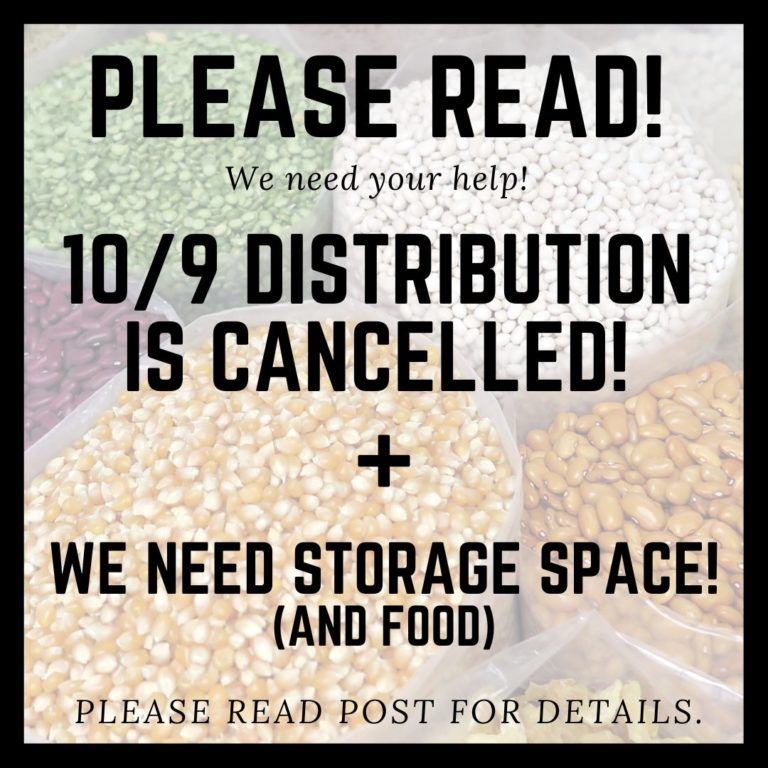 Due to an emergency, October 9th Distribution is cancelled. we apologize.